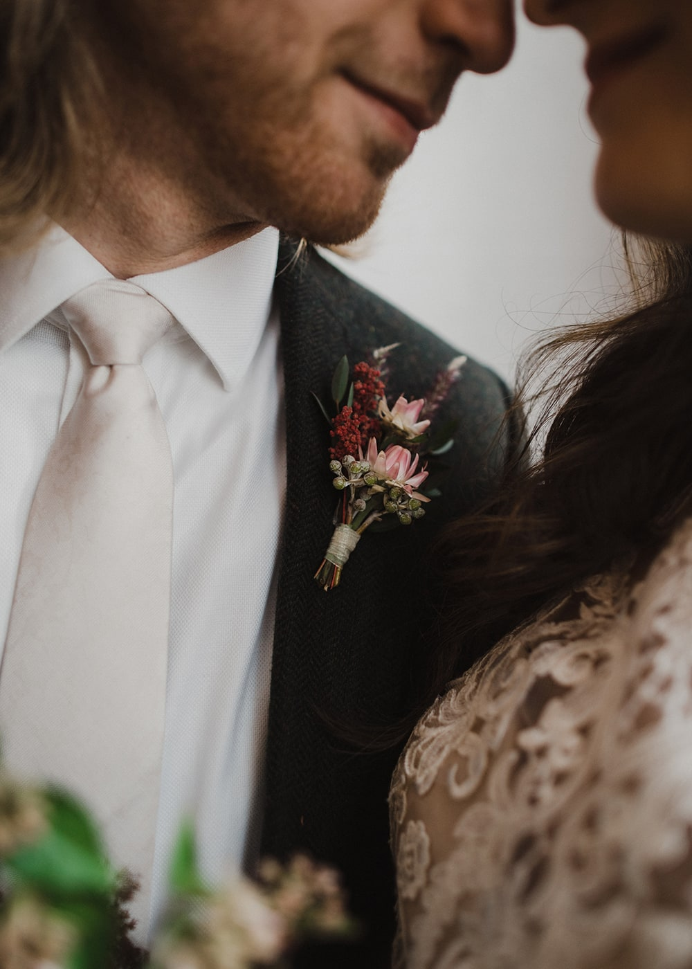 man with boutonniere and wedding tie