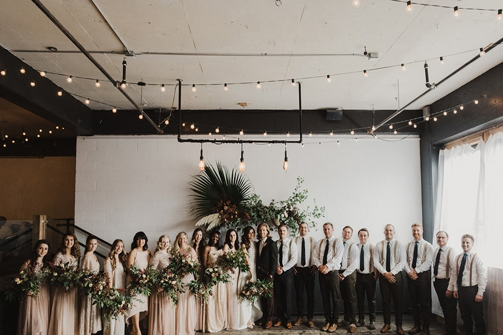 bridesmaids and groomsmen ready for wedding ceremony