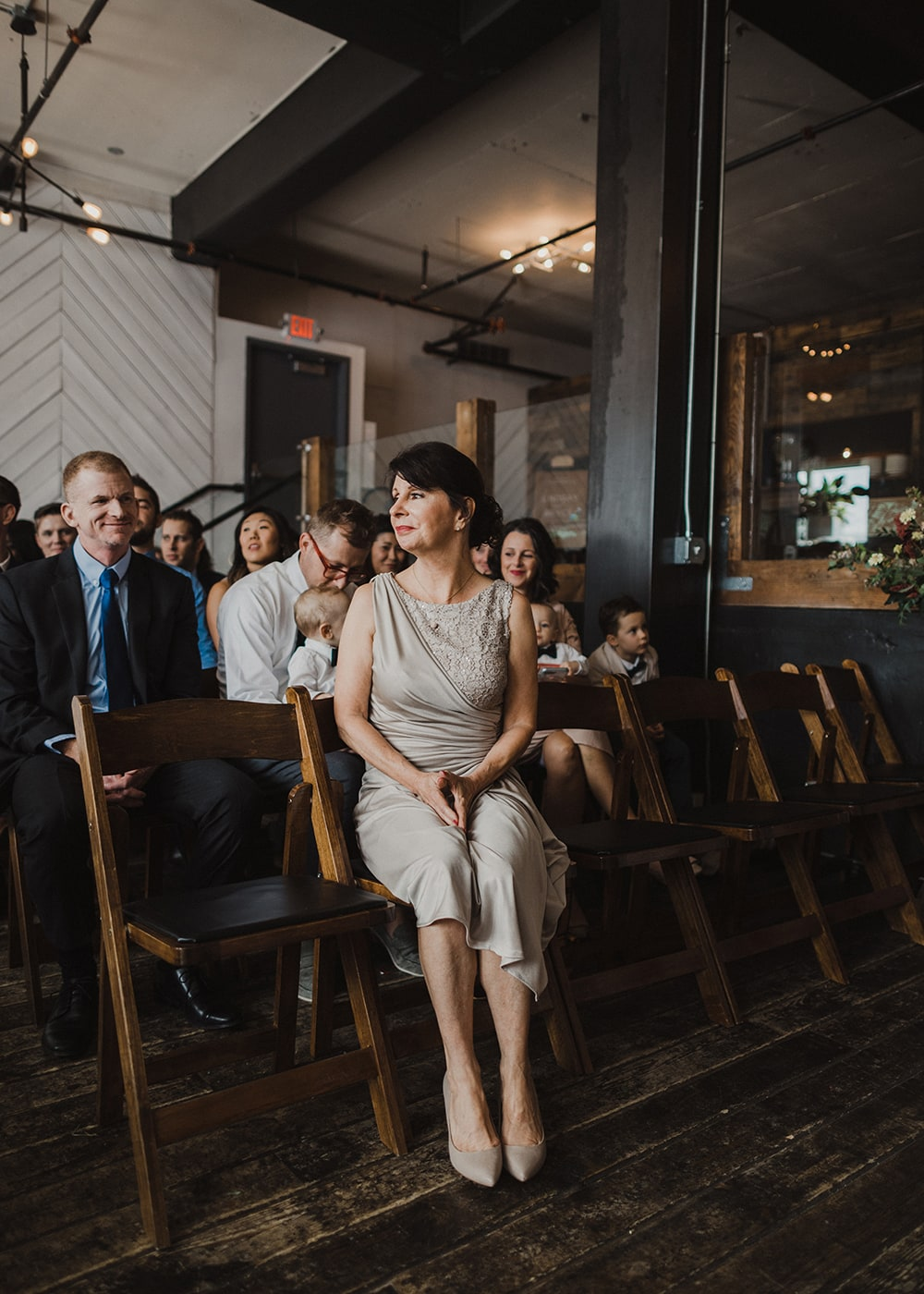 mother of the bride looking calm and relaxed at wedding ceremony