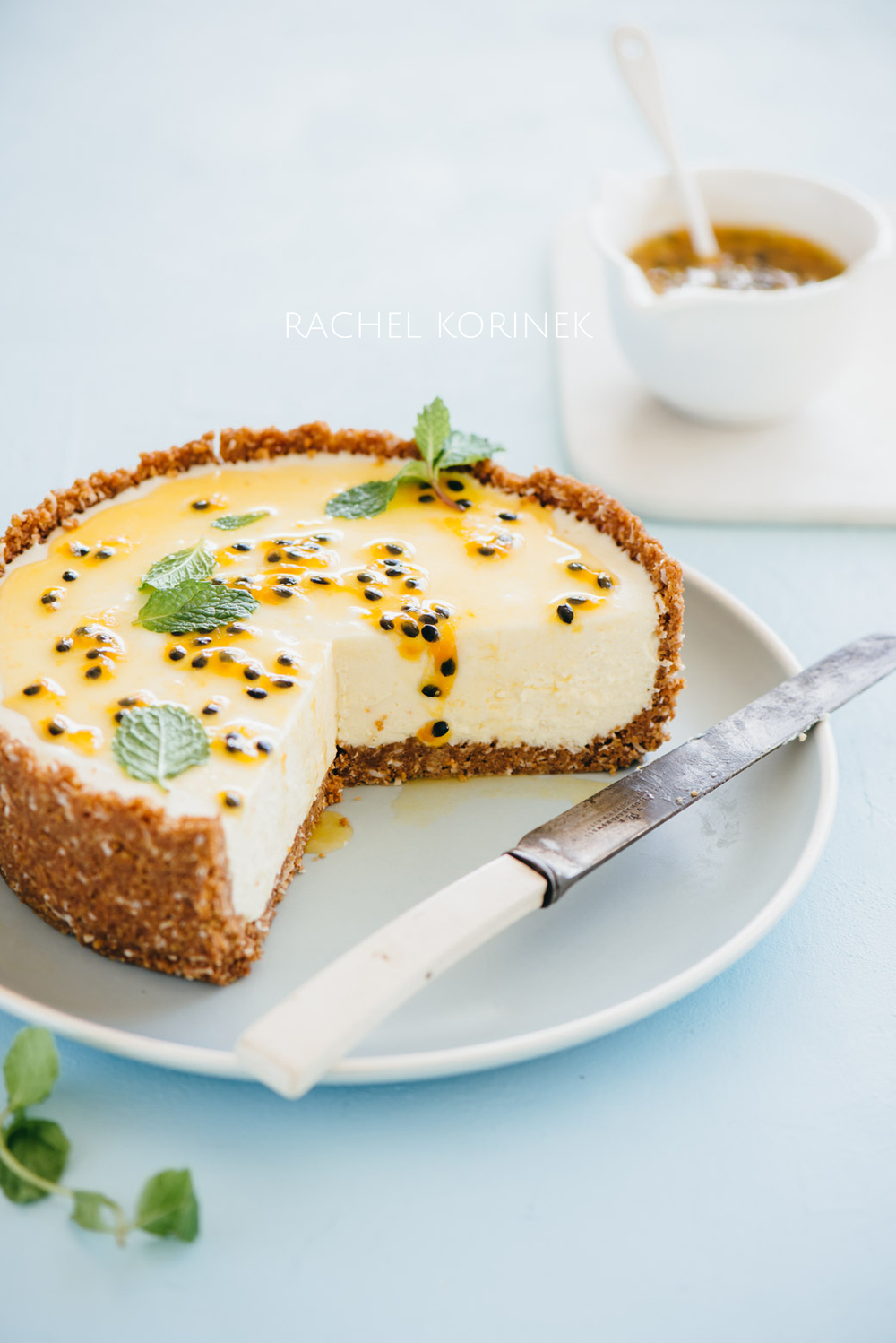 White Chocolate + Passionfruit Cheesecake   Rachel Korinek Food Photographer  Click to check out my latest food photography projects.  #twolovesstudio #beautifulcuisine #foodbloggerpro #foodphotography #learnfoodphotography #foodblogger #learnphotography #foodstyling #lightingtips #naturallight #foodphotographer