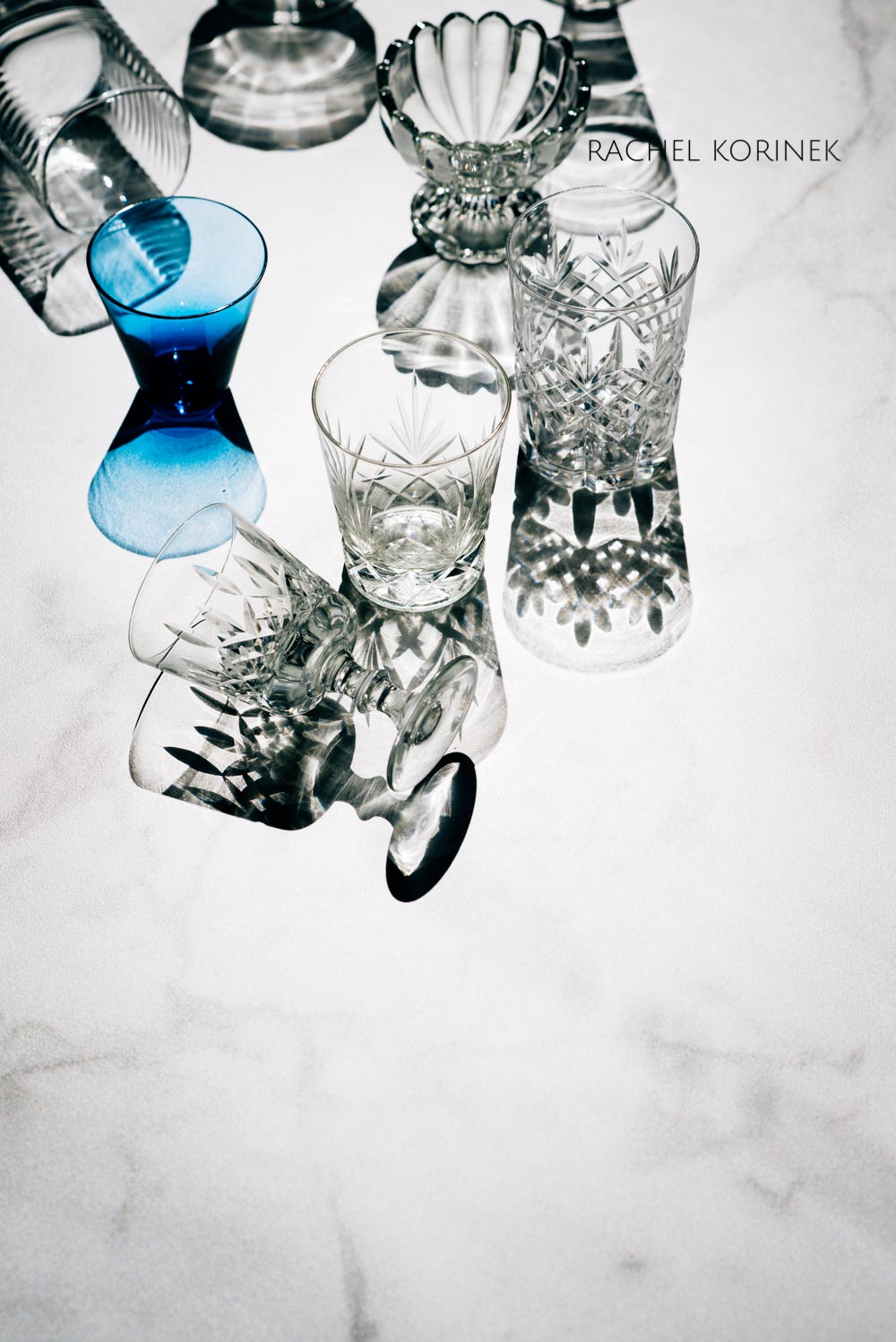 High Key Photography of Vintage Glassware by Melbourne Food Photographer Rachel Korinek.