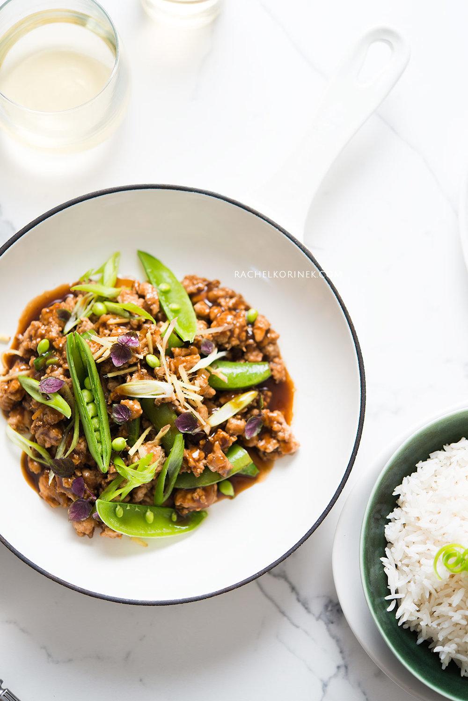Rachel Korinek Food Photographer | Ground Chicken Black Bean Stir Fry