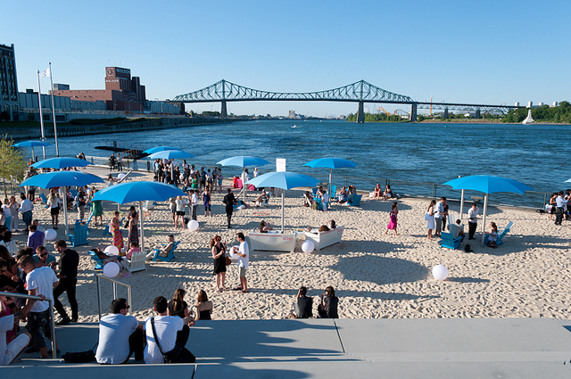 I headed to Clock Tower Beach in Old Port Montreal to catch some rays and give you Pretties some beauty beauty tips to stay Pretty while out in the sun. Though this is a manmade beach it gives city dwellers a great place to just chill out and cool off. I walked to the very top of Clock Tower Beach to get a view of this epic city.