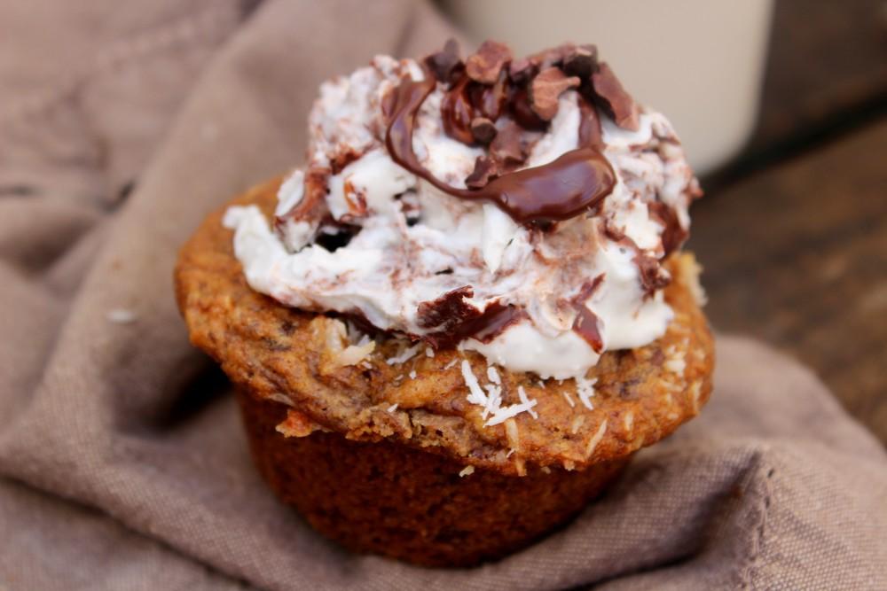 Banana & chocolate spelt muffins w/whipped coconut cream & chocolate ...