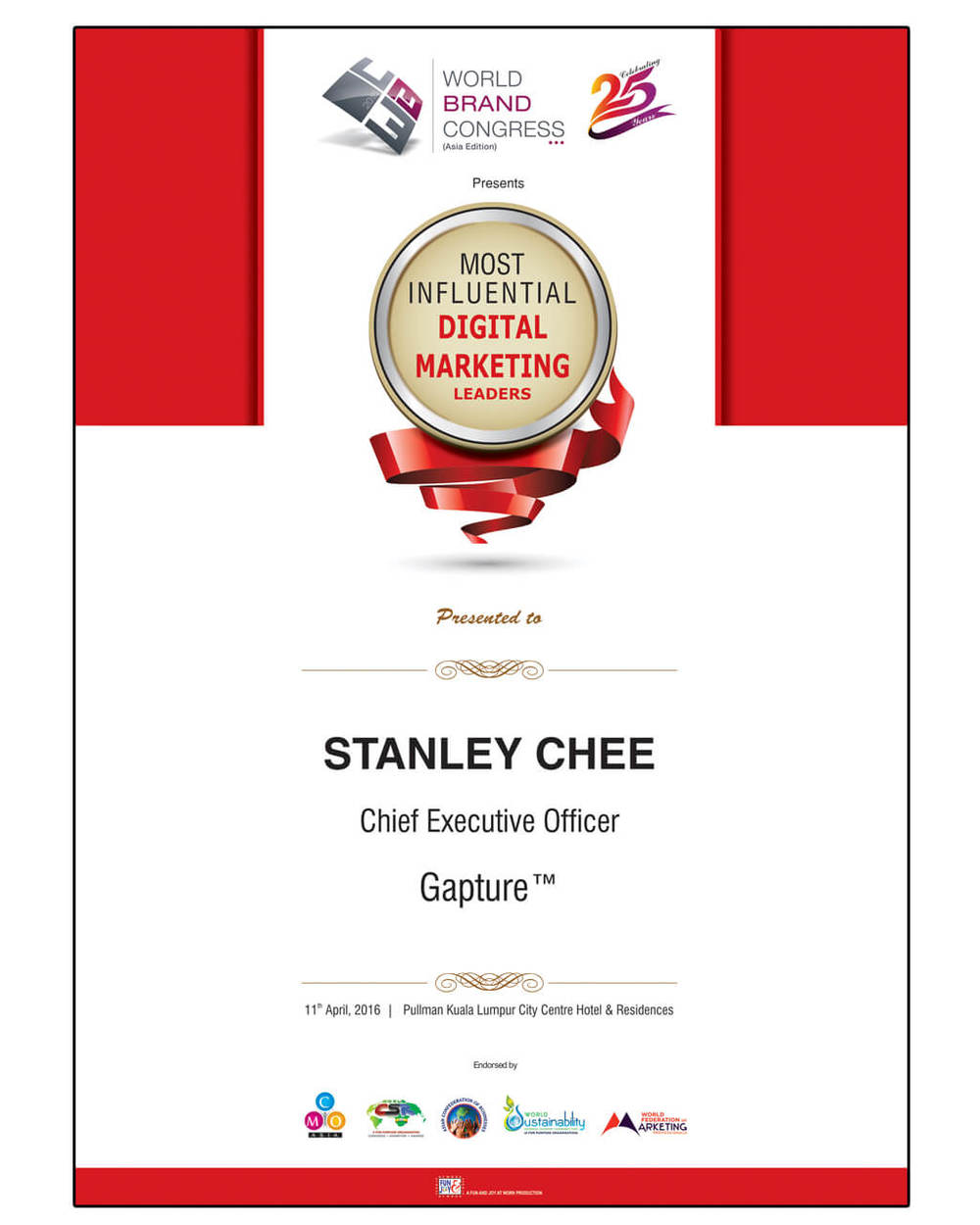 Gapture CEO Awarded Most Influential Digital Marketing Leads by World Brand Congress