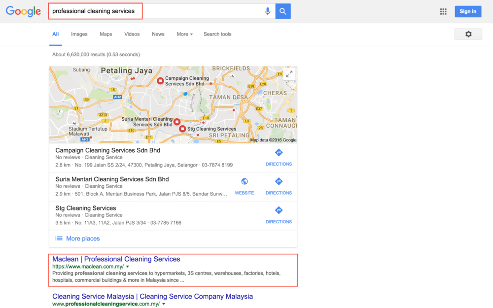 Our ConversionSite client, Maclean, being ranked number 1 in Google Malaysia for their industry keyphrase.