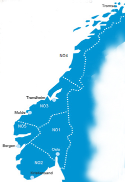 Noreg er delt inn i 5 prisområder