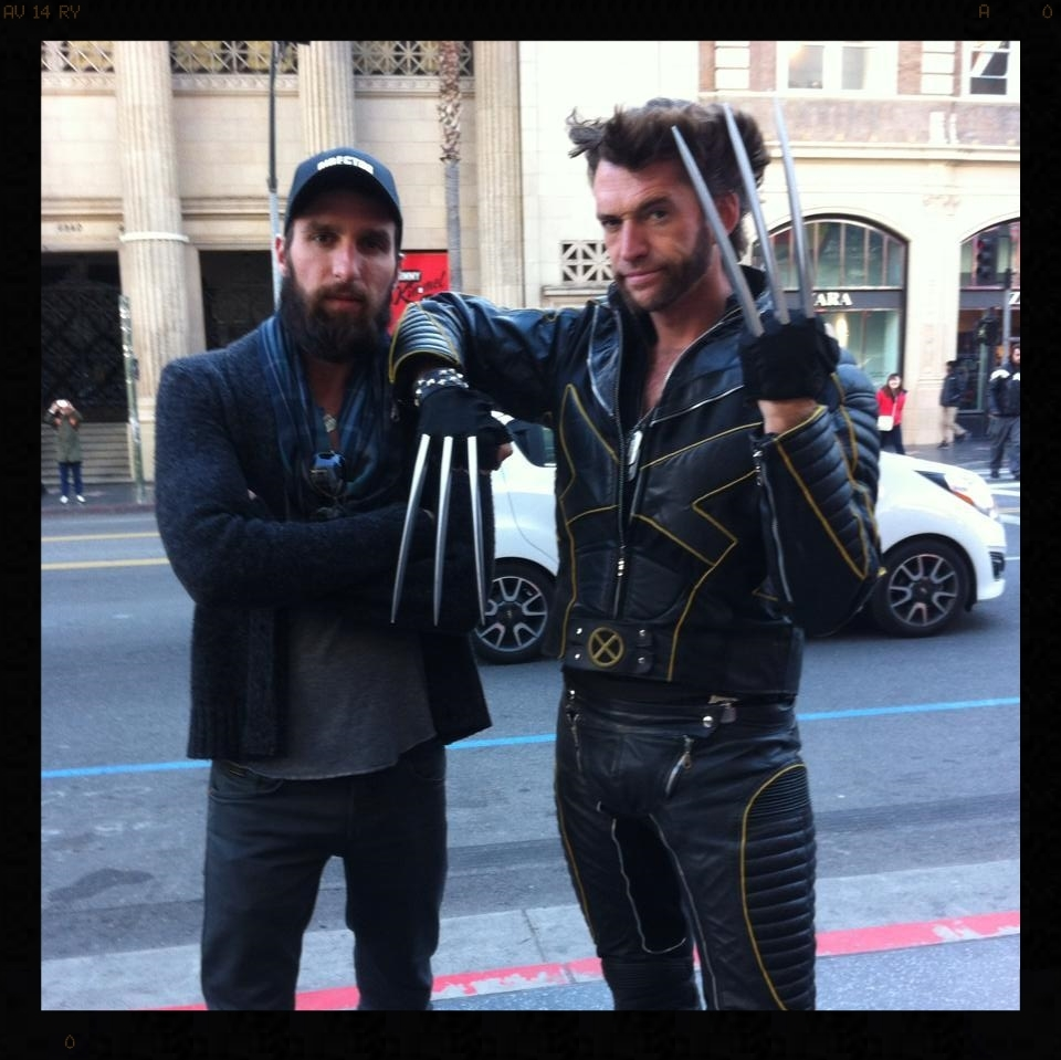 "Research.  Hollywood Blvd. Wolverine should be on the payroll as a personal bodyguard.  Here he is giving ""the finger."""