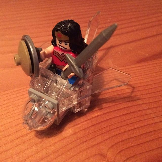 Wonder Woman traded her invisible jet for the not-so-invisible Monster Truck.  #legos #wonderwoman