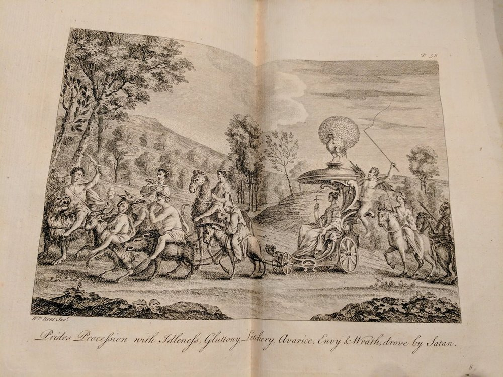 Prides Procession with Idleness, Gluttony, Letchery, Avarice, Envy & Wrath, drove by Satan.  William Kent's copper-plate illustrations taken from the 1751 edition of Edmund Spenser's  Faerie Queene.