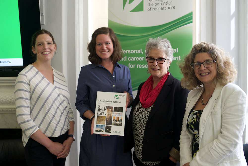 L-R: Dr Joanna Dunster, Portfolio Manager: Research Careers and Training, AHRC; Marie-Alix Thouaille, Doctoral Researcher, UEA and CHASE funded; Dr Denise deCaires Narain, CHASE DTP Director and Clare Viney, CEO, CRAC.