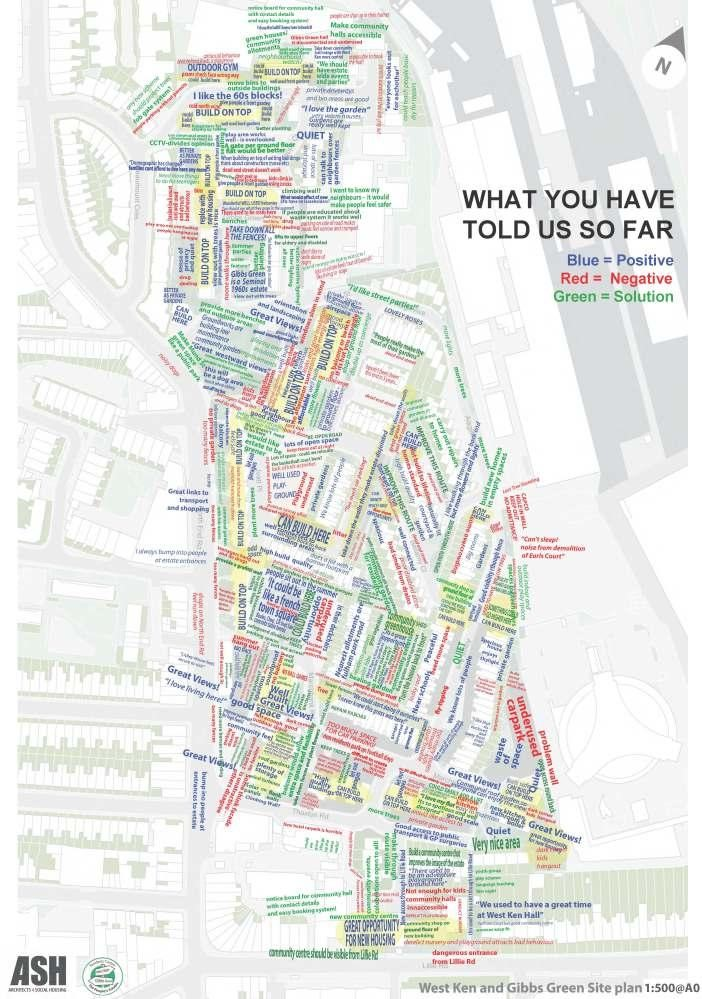 ASH mapping of resident's opinions about their estate - West Kensington and Gibbs Green