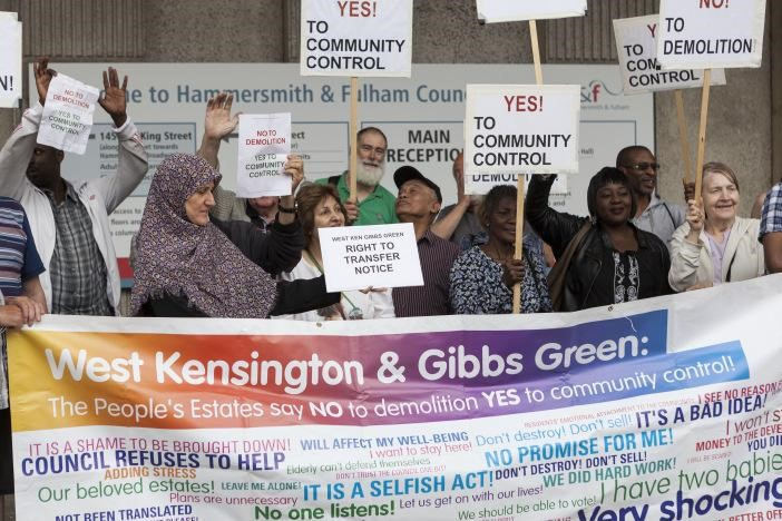 West Kensington and Gibbs Green estate residents - demonstration for community control