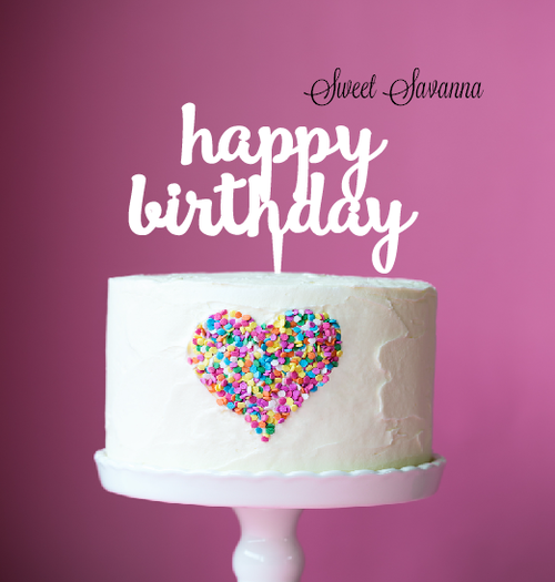 Happy Birthday Cake Topper White