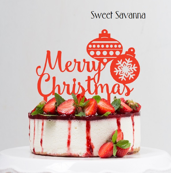 Christmas Cake Toppers.Merry Christmas Cake Topper With Baubles Sweet Savanna Cookie Cutters