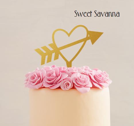 Heart Cake Topper Heat With Arrow Valentines Day Sweet Savanna