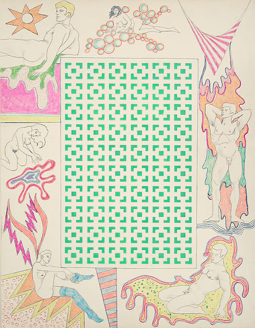 ©Robert Smithson  Untitled [Green vertical square maze and woman with stockings], 1964