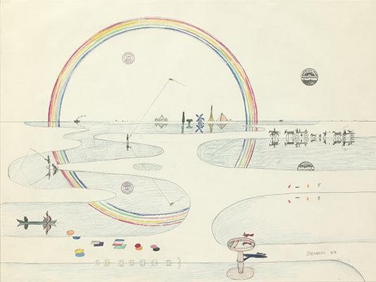 Saul Steinberg,Rainbow Reflected, 1974. Ink, crayon, colored pencil, graphite, and rubber stamps on paper, 29 3/8 x 39 1/2 in. The Saul Steinberg Foundation, New York. © The Saul Steinberg Foundation/Artists Rights Society (ARS), NY