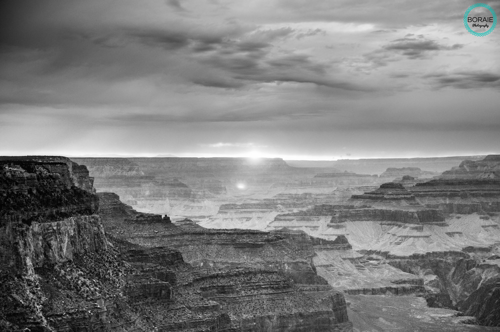 Sunset  the Grand Canyon black and white