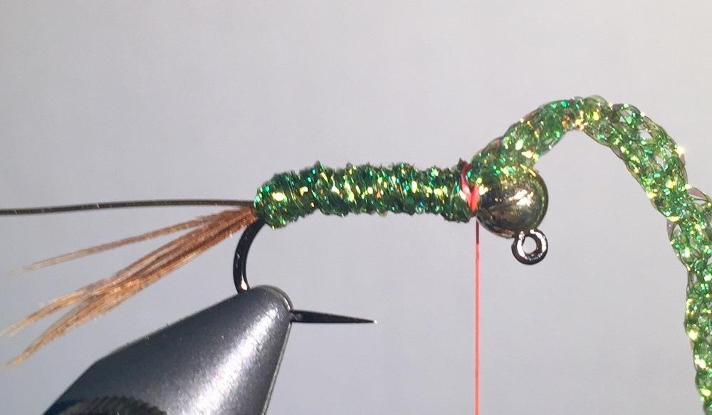 Step 4:  Wrap diamond braid snug up to the bead.