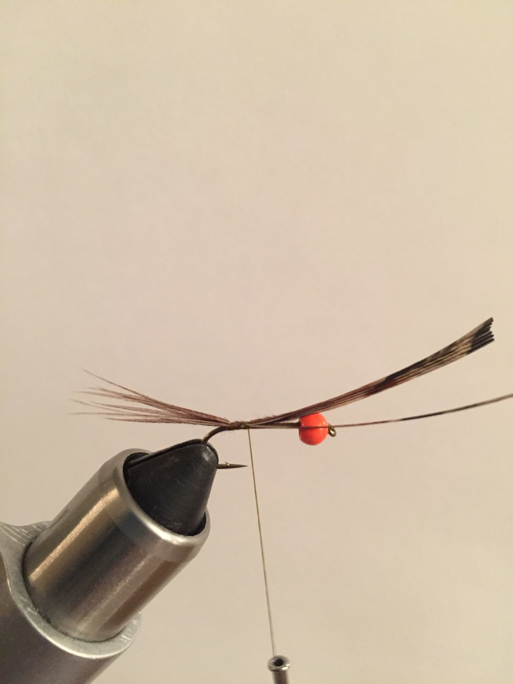 Step 2:  Cut 7 or more fibers of pheasant tail that are slightly longer than the shank of the hook and tie them in at the bend of the hook. Tie up to the bead and then return the thread back down to the bend.