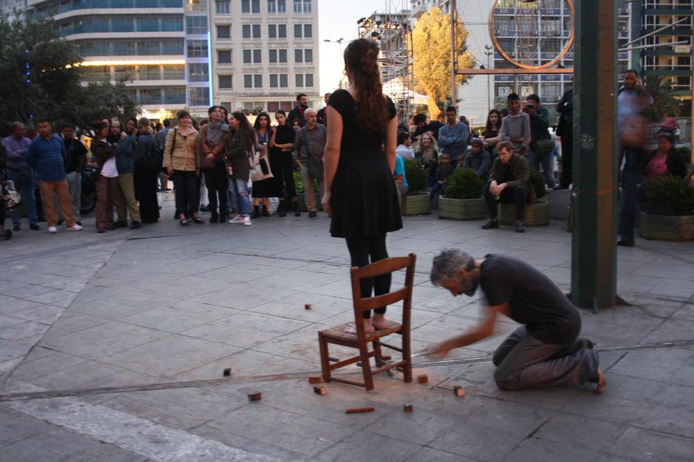 Artists Iliana Natsou and Kostas Voulgaris C.A.S.A. Transmission performances at Bagkeion 23.04.2016.JPG