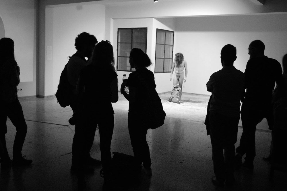 Antonis Antoniou |  Pilos , performance at the Opening of Transmission Video Art Exhibition at BIOS Cultural Center.  Photo credit:  George Striftaris