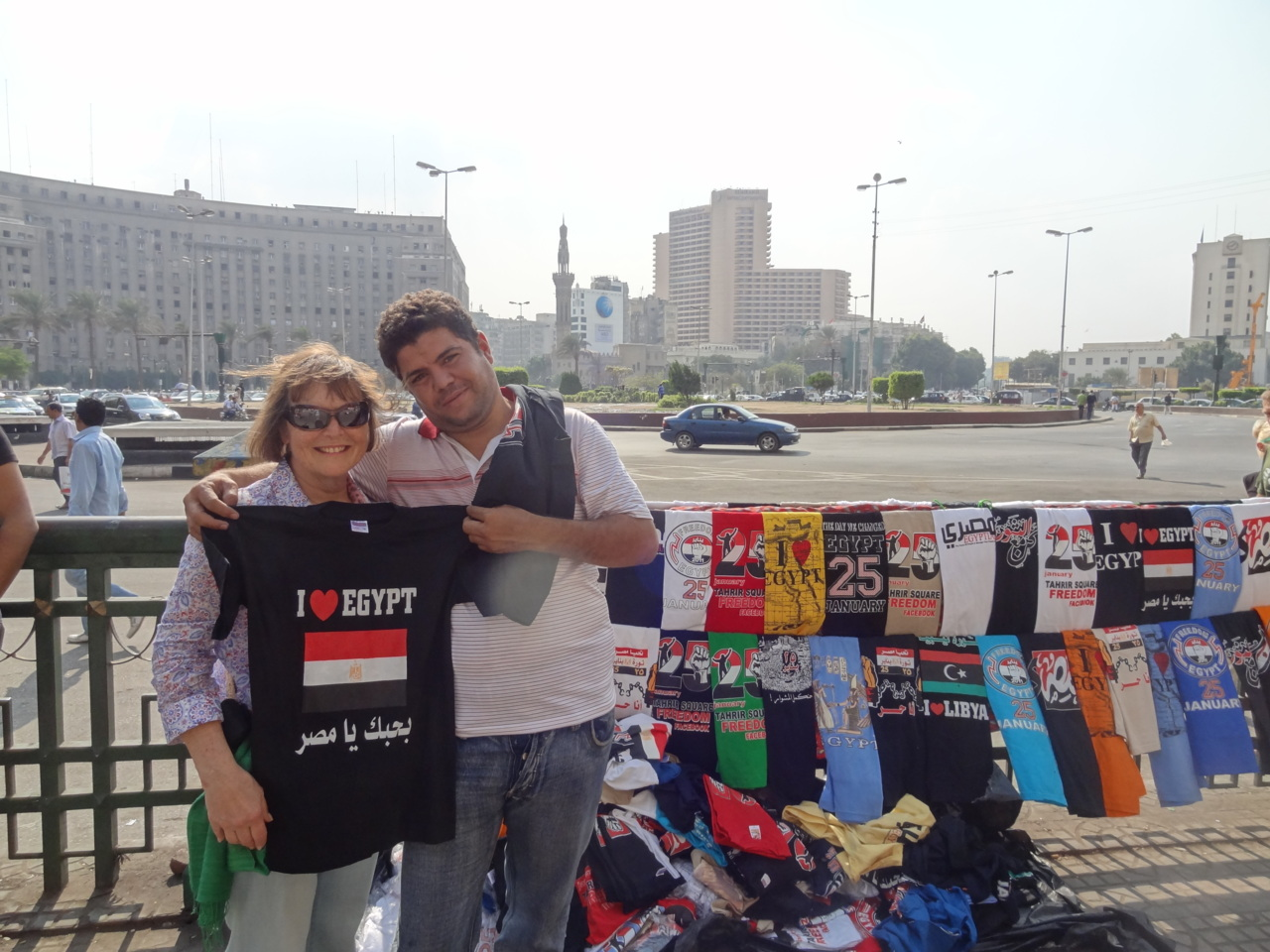 Tahrir Square when it's peaceful. The usual souvenirs and tee shirts. But now so many tee shirts celebrate the January 25th revolution, emblazoned with the date or pictures of broken chains. Feels good.
