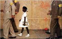 "goshxmm :      kohenari :     She Can't Be a Hero If Obama Likes Her     The power of the painting rests in this: An ordinary little girl, in her ordinary dress, on her way to what should be an ordinary day of school, who can't do any of this without several police protecting her from the violent actions of hate-filled, venomous people who loathe her because of her skin color.   That little girl grew up into the adult Ruby Bridges, now 56 years old and living in New Orleans, who successfully lobbied President Obama to hang the painting in the White House. He opted to have it hung not down some dark hall, but right outside the Oval Office. More than two months after the painting was installed (it's on loan from the Normal Rockwell Museum, in Stockbridge, Mass.)  the media has sat up and made this a big news story.  Is Obama sending a message here? Why does a painting with such ""difficult"" subject matter have to hang right outside the Oval Office?   I spent a lot of time reading dozens of comments on various sites carrying the story. There are a surprising number that run along the lines of, ""Obama is playing the race card,"" or, ""Can't blacks get over it?"" or ""Obama is doing this only because of the opening Sunday of the Martin Luther King Jr. Memorial on the National Mall in Washington,"" or (best yet, for those of us who are educators), ""That was long-ago history. Why drag it up now?"" More than one sunny person asked why Obama couldn't put up ""something positive"" about race.   All these comments criticizing the painting and its placement, and not one recognizing the simple truth that for all the scathing indictment lurking in the painting's title, ""The Problem We All Live With"" is a  heroic  painting? It fits in with a long tradition of such paintings, alongside ""The Death of Socrates,"" ""Liberty Leading the People"" and ""Washington Crossing the Delaware.""   I can't believe this needs spelling out, but it does. The painting of the little Ruby Bridges inspires us to behave with dignity and courage in the face of adversity. She is what's called a  hero .      HT:  PoliticalProf .      The fact people still make those comments, show how relevant that painting still is today.      Art often imitates life. Why should we be afraid to face the truth? Introspection helps — hopefully helps — us become better people doesn't it?"