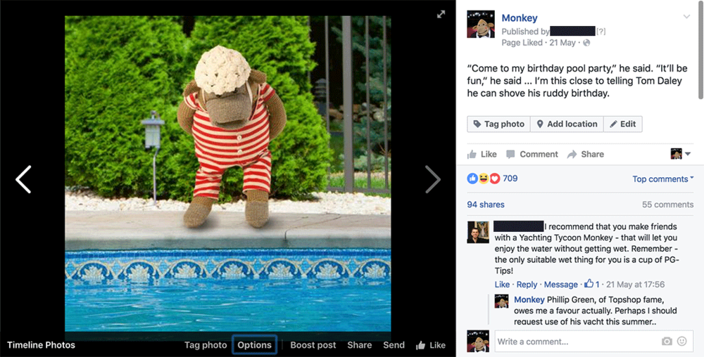 Monkey:  PG Tips & Comic Relief social media images