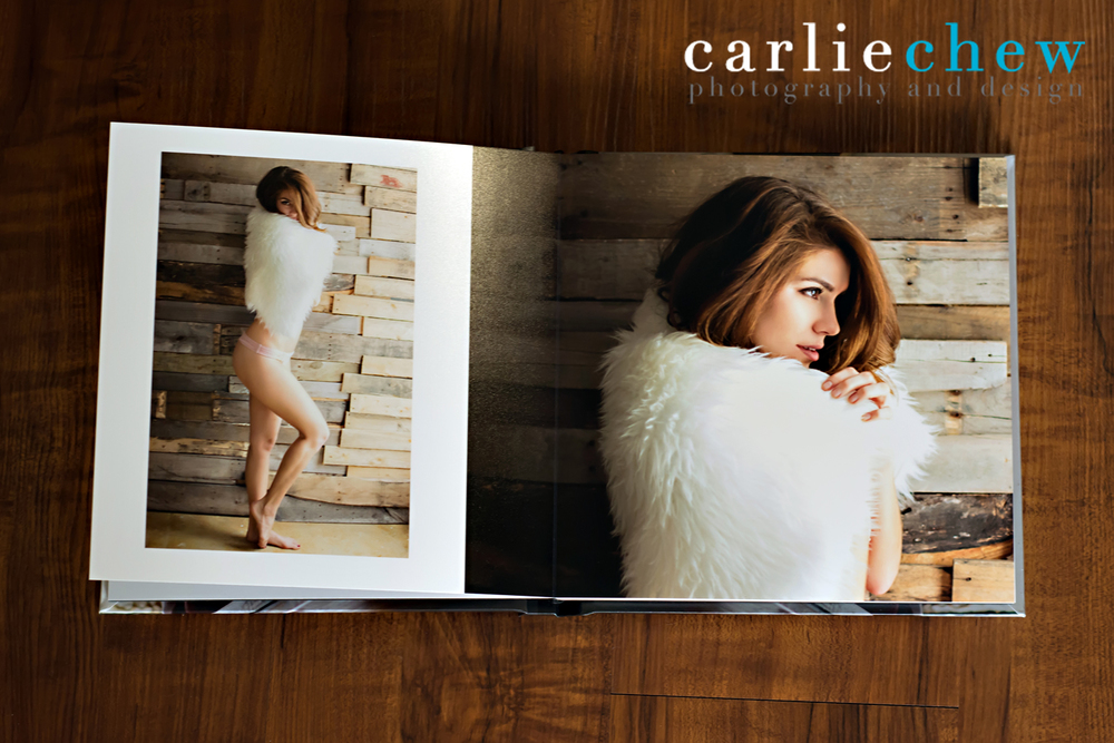 High end boudoir book designed by boudoir photographer of Tampa, Florida Carlie Chew Photography