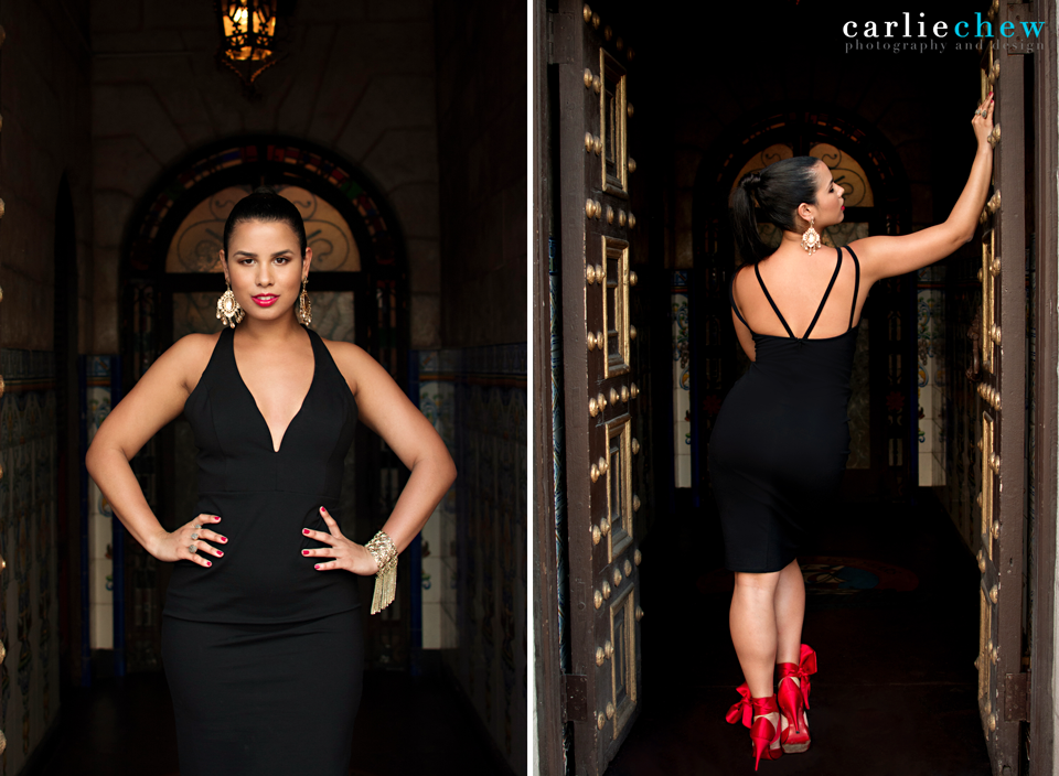 Woman poses in the doorway of The Columbia Restaurant in Ybor City, Tampa, Florida for fashion photographer Carlie Chew Photography in red Louboutin heels.