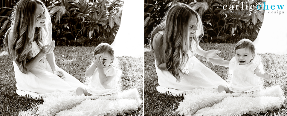 Little girl blows kisses to her mother in Mommy and me mini session in South Tampa, Florida with family photographer Carlie Chew Photography