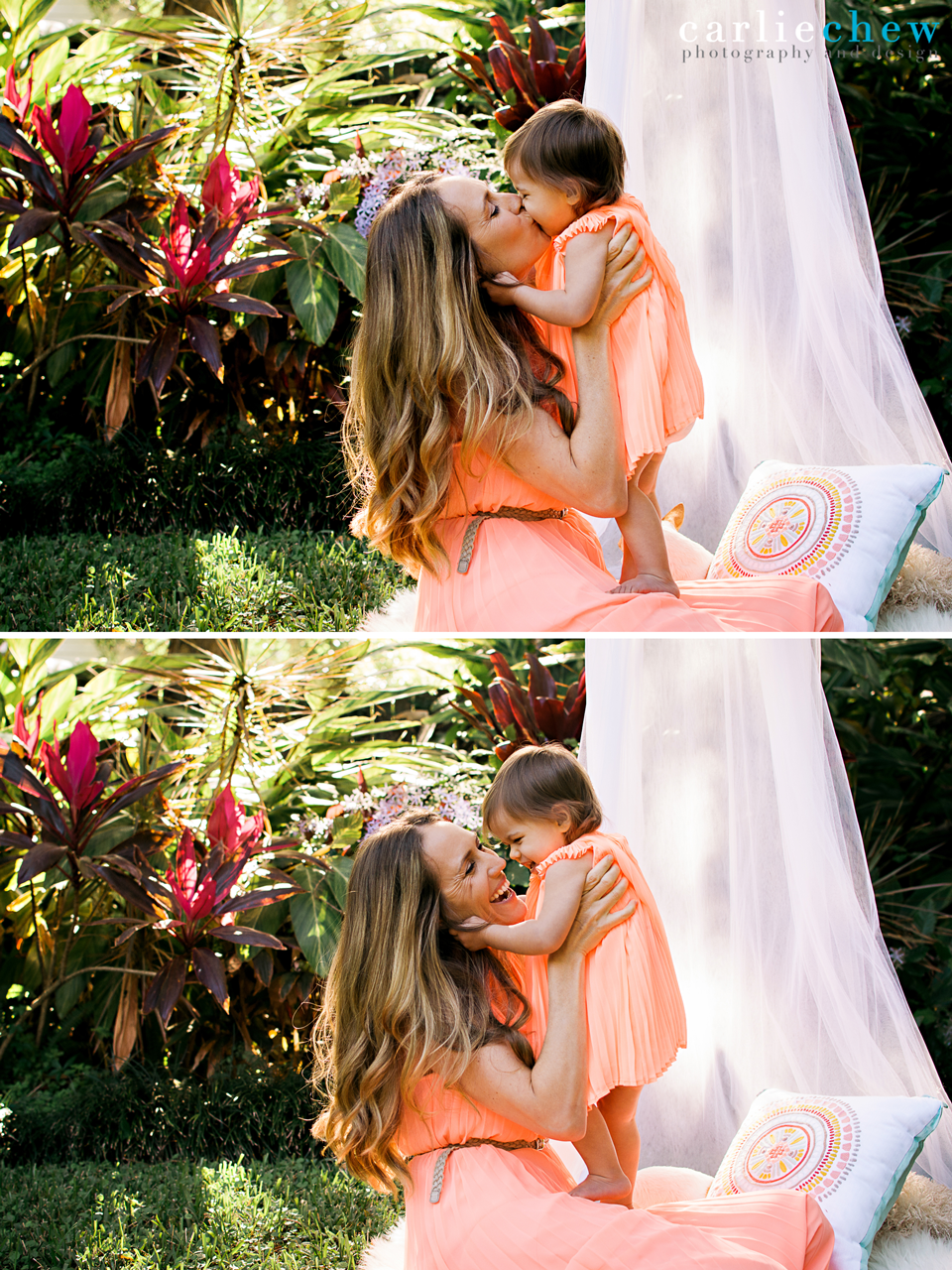 Baby kisses at a mommy and me mini session in South Tampa, Florida with family photographer Carlie Chew Photography