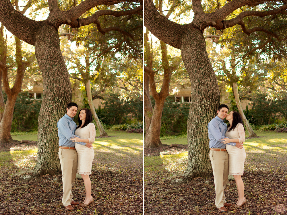 Couple poses under oak tree at the Tampa Garden Club in Florida for maternity photographer Carlie Chew Photography