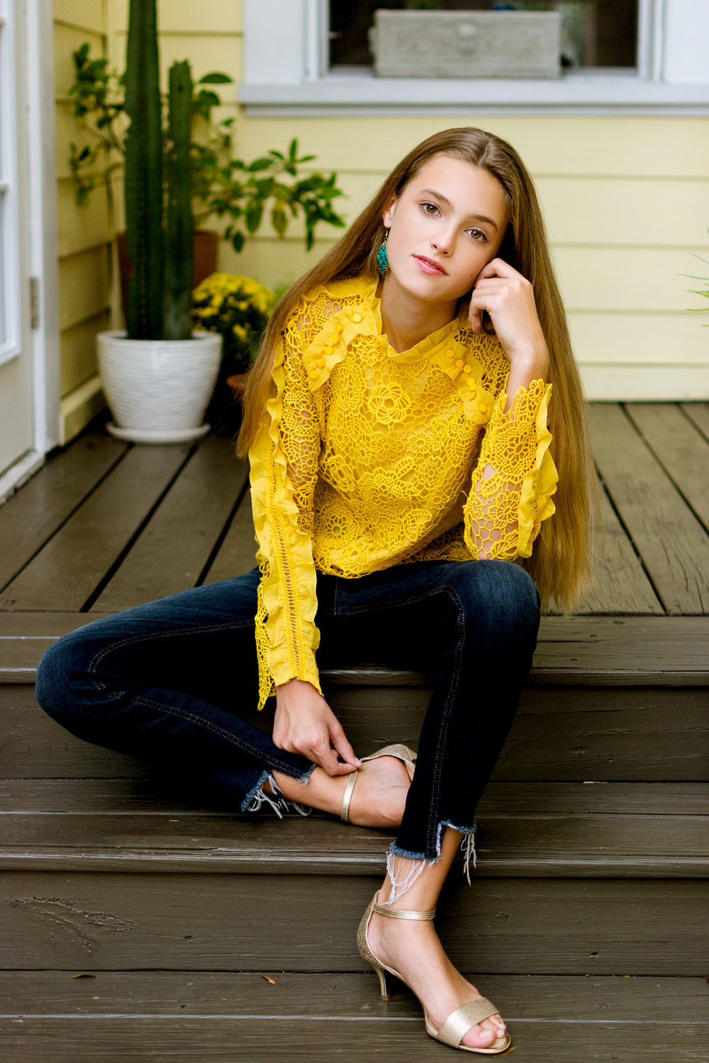 Casual model pose in yellow top for fall fashion photoshoot with Carlie Chew Photography