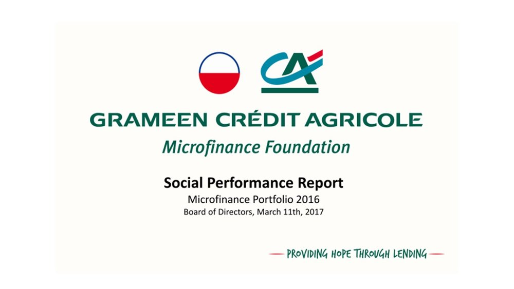 Example of SPI4 benchmarks for the GCAMF Social Performance Report to their Board (march 2017)