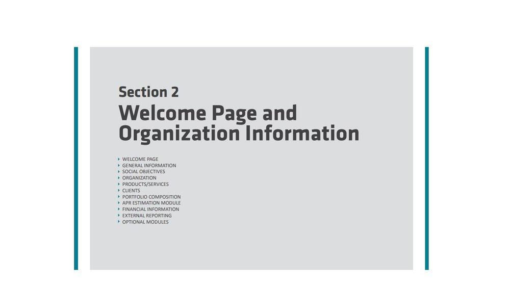 Sección 2: pagina de bienvenida e información sobre la organización