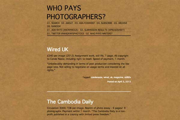 WHO PAYS PHOTOGRAPHERS?