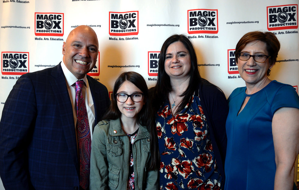NYC Council Member Paul Vallone, Student Photographer Christina Dakis, Olga Dakis, Magic Box Productions Executive Director Nelle Stokes