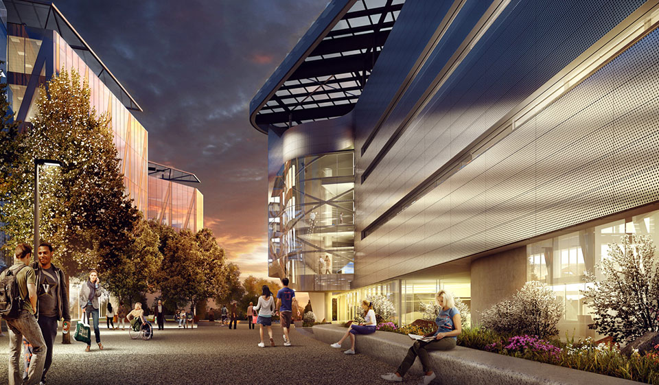 Campus Rendering at Night courtesy of Morphosis Architects