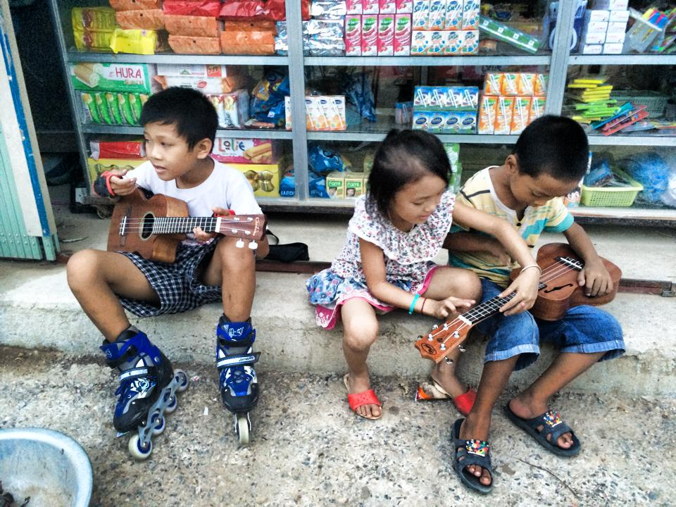 Our students in Phong Nha exploring their new ukuleles.