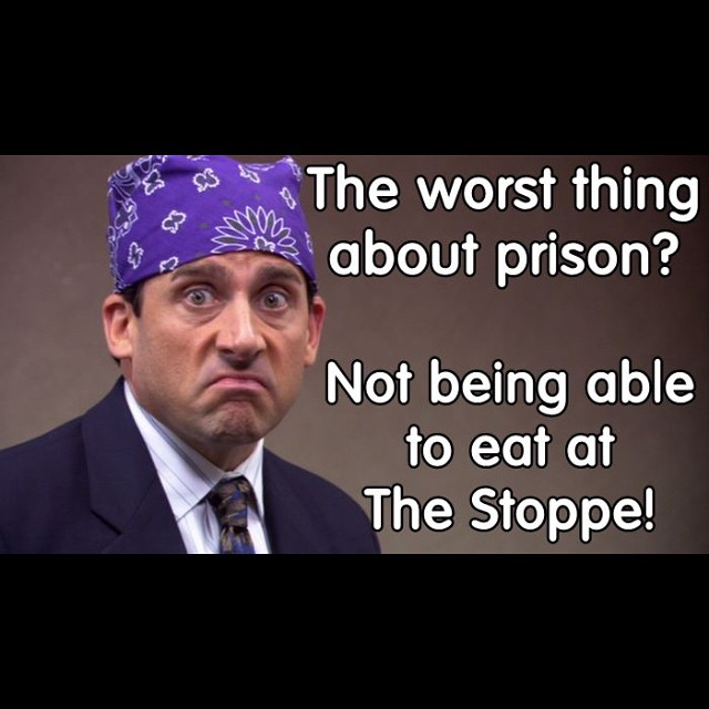 Prison Mike speaks the TRUTH! If you have your freedom, exercise your right to eat the Pass Area's BEST and FRESHEST FOOD at The Stoppe! #theoffice #prisonmike #thedementors #thestoppe