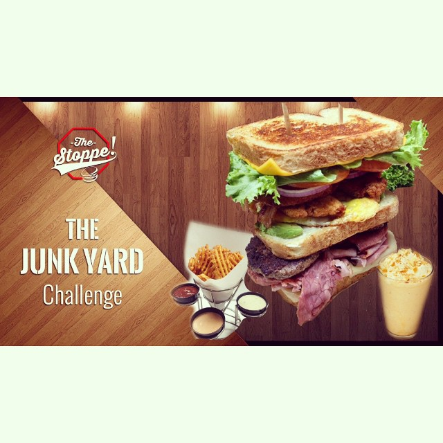 "The Junkyard Eating Challenge!!! SATURDAY DECEMBER 20, 2014!!! Challenge will start at $11:30am SHARP! We are only accepting THE FIRST 10 CHALLENGERS TO PAY THEIR FEES!!! FIRST COME FIRST SERVE!!! $25 to enter!!! The Challenge: You must consume 1 entire Junkyard Sandwich, 1 order of Waffle Fries, 1 Large Shake!!! The person to eat all of this in the fastest time will be crowned King of The Junkyard Challenge, get an AWESOME ""King of The Junkyard Challenge!"" T Shirt and a $50 gift certificate to The Stoppe!!! Tag your friends, post comments and share this post so everyone can witness the Junkyard King in the making!!! We'll see you all Saturday December 20!!! #TheJunkyardChallenge2014 #whowillwin #whowillconquerthejunkyard #foodchallenge #eatingchallenge #burgers #sandwiches #thestoppe #big #delicious #food CALL 951.845.9344 or write us on Facebook!!!"