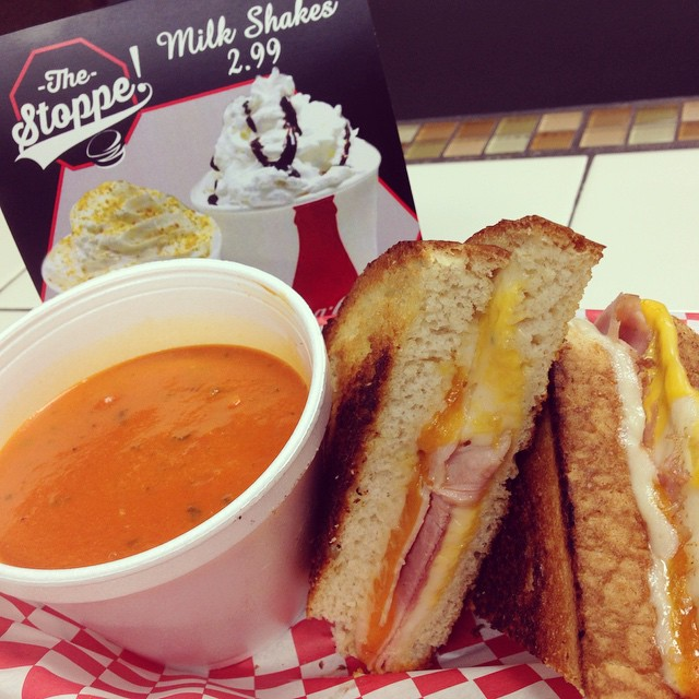 It's COLD out today. You know what would warm you right up? A blanket. But also a Grilled Cheese sandwich and Tomato Bisque at The Stoppe! Blankets taste gross anyway😉 #soup #grilledcheese #saveablanket #love