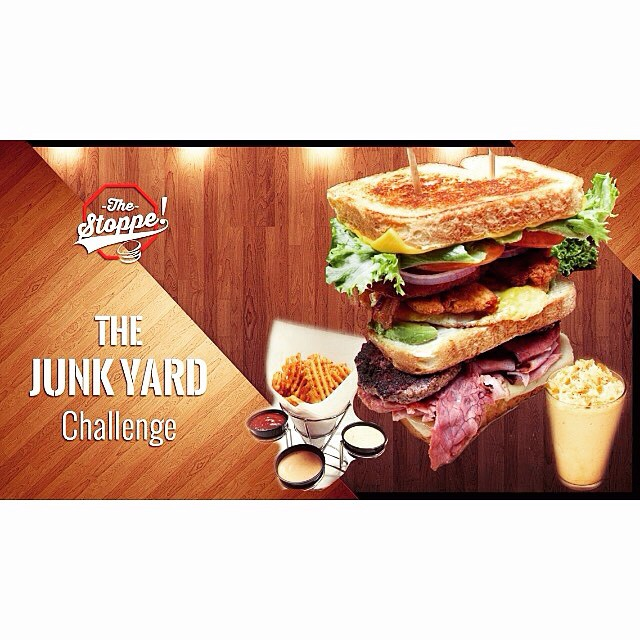 THE JUNKYARD CHALLENGE! TODAY at 11am!!! Get your payment in this morning before the challenge begins at 11am sharp!!! We're looking to crown a NEW record holder for both The Junkyard Challenge (with 1lb of waffle fries and large shake) and just The Junkyard Sandwich itself!!! 1140 Beaumont Ave Beaumont, CA. 951.845.9344