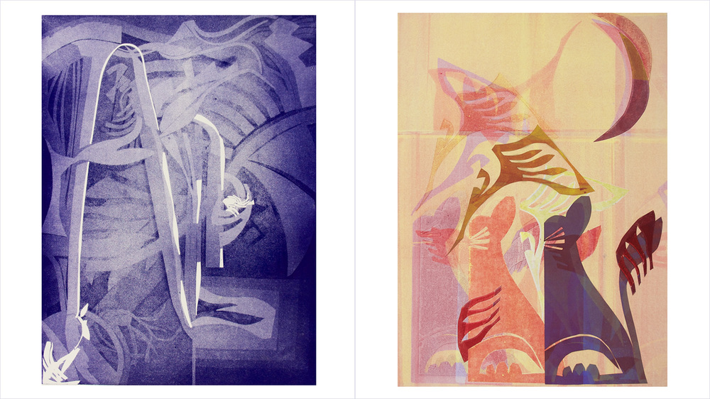 "[Left] - ""BLUEPLE"" - Aquatint - Custom color over acid etched zinc plate. [Right] - ""PURRNICIOUS"" - Monotype - Custom subject: cats."