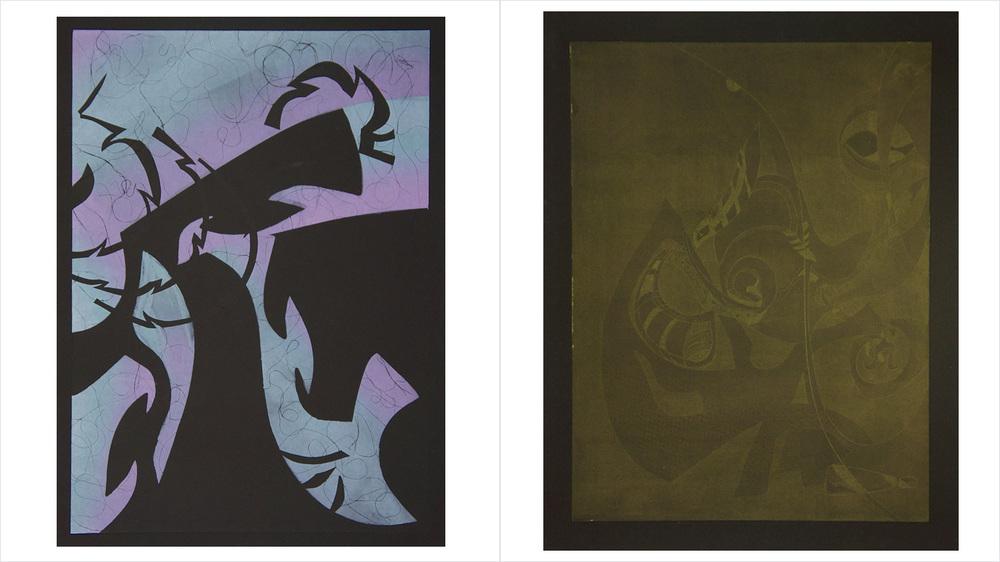 "[Left] - ""GLIMMHOWLER"" - Monotype - 2013   [Right] - ""GLITTERIN"" - Aquatint - 2013"