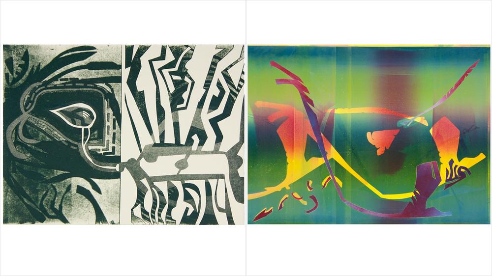 "[Left] - ""AXAN"" - Aquatint - 2014   [Right] - ""NORLIGHT"" - Monotype - 2014"