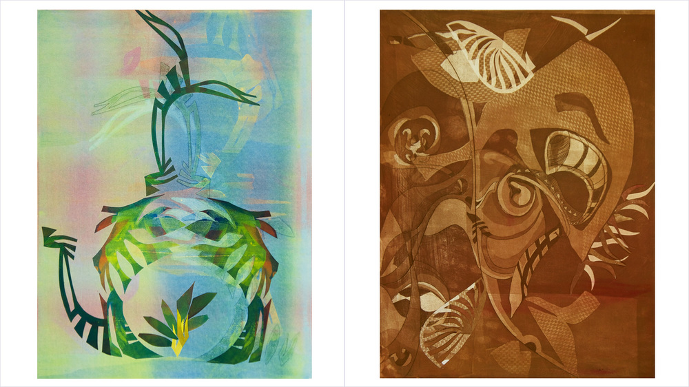 "[Left] - ""TIAMAT"" - Monotype with Collage - 2014   [Right] - ""SERENGETI"" - Aquatint with Collage - 2013"